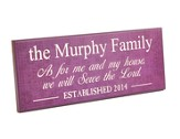 Personalized, Plaque, As For Me and My House, Long,  Purple
