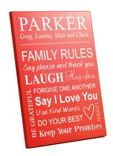 Personalized, Wood Grain Plaque, Family Rules, Large,  Red