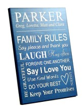 Personalized, Wood Grain Plaque, Family Rules, Large,  Blue