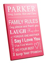 Personalized, Wood Grain Plaque, Family Rules, Large,  Pink