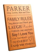 Personalized, Family Rules Plaque, Large, Cherry