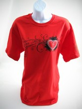 Rhinestone Heart Cross Shirt, Red, Small - Slightly Imperfect