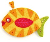 Felt Zippered Fish Shaped Coin Purse, Yellow and Green, Fair Trade Product
