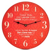 Personalized, Wall Clock with Large Numbers, Family  Rules, Red