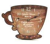 Personalized, Coffee Cup Wall Clock, Our Home Runs On  Faith Laughter and Strong Cups of Coffee