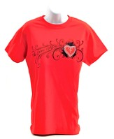 Rhinestone Heart Cross, Shirt, Red, X-Large