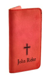 Personalized, iPhone Wallet, with Cross, Red