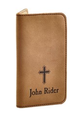 Personalized, iPhone Wallet, with Cross, Brown