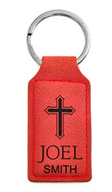 Personalized, Keychain, with Cross, Rectangle, Red