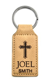 Personalized, Keychain, Rectangle, with Cross, Tan