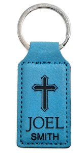 Personalized, Keychain, Rectangle, with Cross, Teal