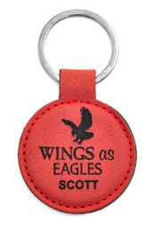 Personalized, Keychain, Round, Eagle, Red