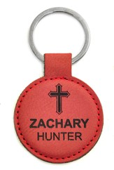 Personalized, Keychain, Round, with Cross, Red