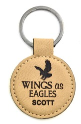 Personalized, Keychain, Round, Eagle, Tan