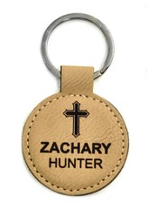 Personalized, Keychain, Round, with Cross, Tan