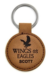 Personalized, Keychain, Round, Eagle, Brown