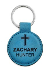 Personalized, Keychain, Round, with Cross, Teal
