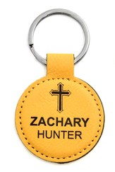 Personalized, Keychain Round, with Cross, Yellow