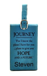 Personalized, Luggage Tag, For I Know, Teal
