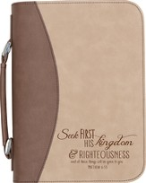 Seek First His Kingdom Bible Cover, Tan