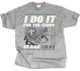 I Do It For the Glory Of God, Football Shirt, Gray, Youth Small