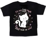 It's Not My Fault God Made Me Cute, Kitty Shirt, Black, Youth Small