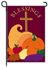 Fall Blessings Garden Flag, Cross and Cornucopia