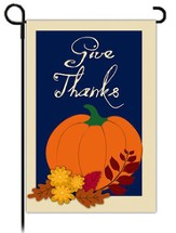 GIve Thanks Garden Flag, Pumpkin with Border