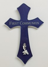 First Communion Wall Cross, Blue