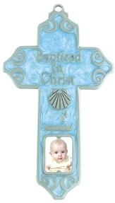 Baptized in Christ Wall Cross, Blue