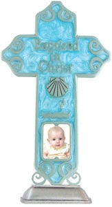 Baptized in Christ Tabletop Cross, Blue