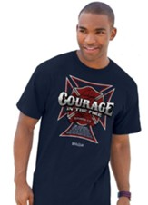 Courage, Short Sleeve Regular Fit Tee Shirt, Navy, Adult 2x-Large