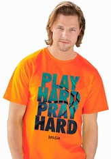 Play Hard, Short Sleeve Regular Fit Tee Shirt, Safety Orange, Adult Small