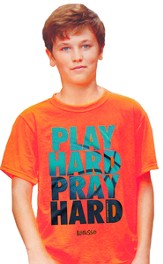 Play Hard, Short Sleeve Kidz Fit Tee, Safety Orange, Youth Large