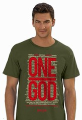 One God, Short Sleeve Regular Fit Tee Shirt, Military Green, Adult Medium