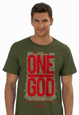One God, Short Sleeve Regular Fit Tee Shirt, Military Green, Adult Small