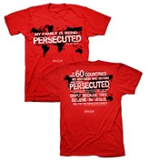 Persecuted Church, Short Sleeve Regular Fit Tee Shirt, Red, Adult X-Large