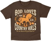God Loves Country Girls Shirt, Brown, 2T
