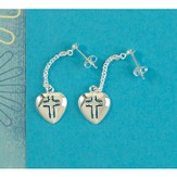 Solid Heart Cross Earrings