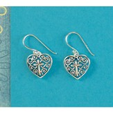Filigree Heart Cross Earrings