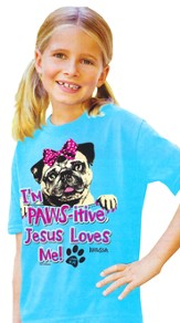 Pawsitive, Short Sleeve Kidz Fit Tee, Turquoise, Youth Large