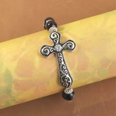 Antique Cross Bracelet, Black and Silver