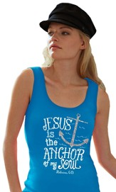 Anchor, Adult Ladies Fit Tank Top, Turquoise, Adult Small