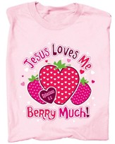 Jesus Loves Me Berry Much Shirt, Pink, Youth Small - Slightly Imperfect