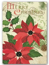 Poinsettia, Foil Christmas Cards, Box of 12