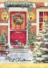 Door, Foil Christmas Cards, Box of 12