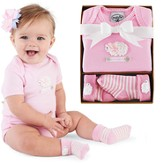 Lamb Boxed Set, Romper and Socks, Pink