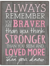 Always Remember, You Are Braver, Stronger Wall Plaque, Large