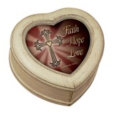 Faith, Hope, Love Heart Shaped Music Box