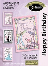 Hats and Ribbons Birthday Cards, Box of 12